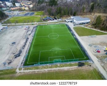 Artificial fotball grass in the town Boras Sweden April 2016