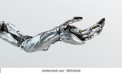 Artificial futuristic robotic arm, 3d rendering