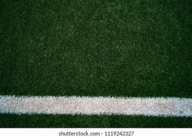 Artificial Grass Football Field & White Stripe - Close up