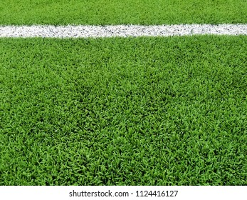 artificial grass football soccer Field with white line background