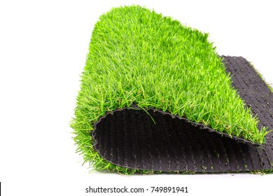 artificial grass mat isolated on a white background