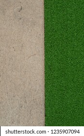 Artificial grass or turf on floor. Top view
