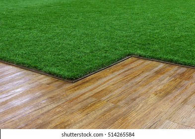 Artificial grass and wooden floor texture. Indoor and outdoor decoration for wall and walkway.