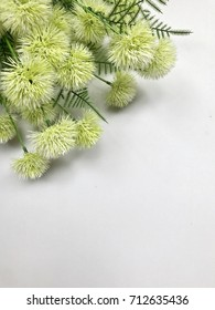Artificial green ball flower bouquet with space for writing