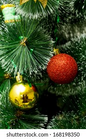 artificial green Christmas tree with round balls, great christmas background
