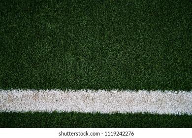Artificial Green Grass Football Field & White Stripe - Close up