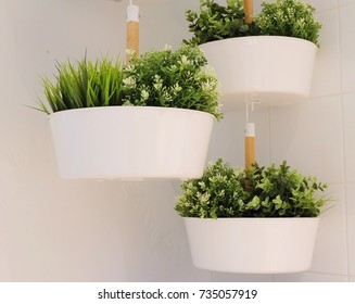Artificial Green Plants in A White Metal Flower Pots Hanging on The Air for Home and Office Decoration without The Care.