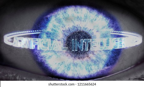 Artificial intelligence AI 3D illustration with human eye.