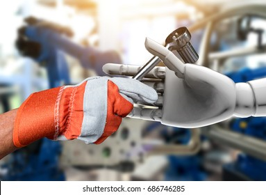 Artificial intelligence (AI) advisor or robo-adviser in smart factory industry 4.0 technology. Industrial Globe of male engineer hand on wrench tools to 3d rendering robot. Blur automobile background.