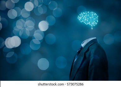 Artificial intelligence (AI), data mining, deep learning and another modern computer technologies concepts. Brain representing artificial intelligence with printed circuit board (PCB) design.