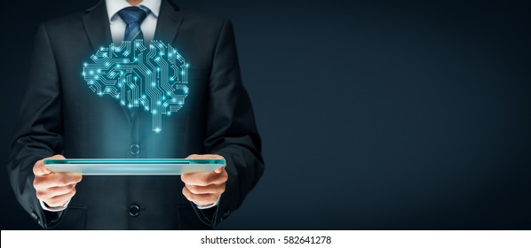 Artificial intelligence (AI), data mining, expert system, machine deep learning and computer technologies concepts. Brain representing artificial intelligence with printed circuit board (PCB) design.