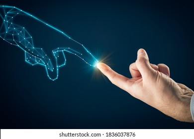 Artificial intelligence (AI) and industry 4.0 concept. Human hand and graphics hand symbolizing PCB design representing future technologies like artificial intelligence and industry 4.0.