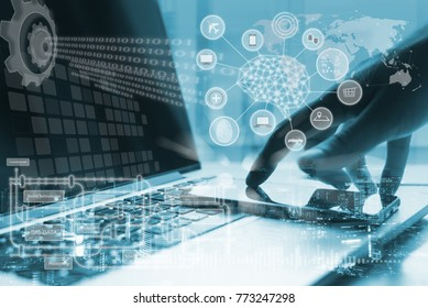 Artificial Intelligence AI, Internet of Things IoT concept. Business man using smartphone, laptop computer on technology background, 4.0 industrial technology development, remote control, blue tone