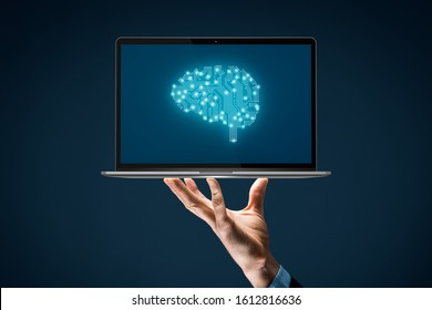 Artificial intelligence (AI), machine deep learning, data mining, and another modern computer technologies concepts. Brain representing artificial intelligence and businessman with notebook.