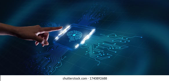 Artificial intelligence (AI), machine learning and modern computer technologies concepts. Business, Technology, Internet and network concept.
