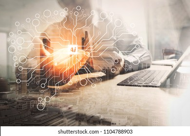 Artificial Intelligence (AI),machine learning with data mining technology on virtual dachboard.Double exposure of success businessman working office with digital tablet computer with London building