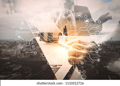 Artificial Intelligence (AI),machine learning with data mining technology on virtual dachboard.Double exposure,Business team meeting present. professional investor working new startup project.