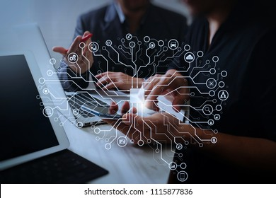 Artificial Intelligence (AI),machine learning with data mining technology on virtual dachboard.Business team meeting. Photo professional investor working new start up project.Finance task.