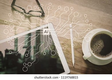 Artificial Intelligence (AI),machine learning with data mining technology on virtual dachboard.Coffee cup and Digital table dock smart keyboard,eyeglasses,stylus pen on wooden table,filter effect