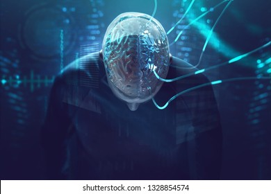 Artificial intelligence - brain is connected to cables