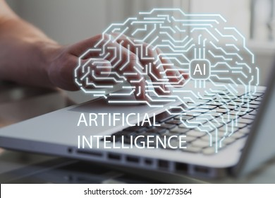 Artificial intelligence brain with view of business man or developer on background. AI, machine learning and neural network concept.