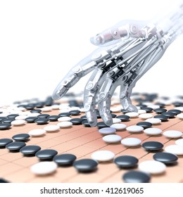 Artificial intelligence competing in the game of go - 3D illustration