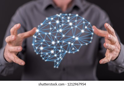 Artificial intelligence concept between hands of a man in background
