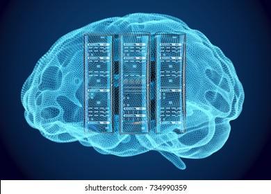 Artificial intelligence concept, Computer server racks inside brain, 3D rendering