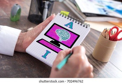 Artificial intelligence concept drawn on a notepad