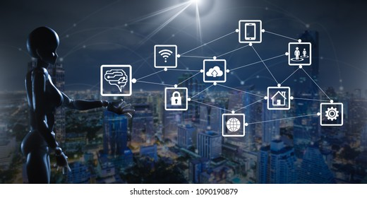 Artificial intelligence concept with internet of things icon
