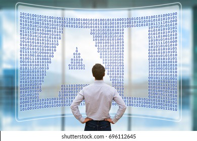 Artificial intelligence concept with text AI in binary code matrix on virtual screen and person working with cyber technology and automation