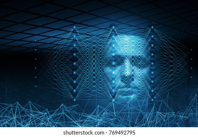 Artificial intelligence conceptual digital illustration with neural network structures and blue human face, 3d render
