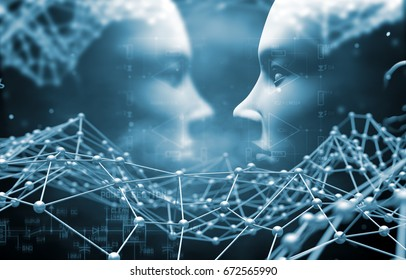 Artificial intelligence and cyborg concept with face and net.Technology and science abstract background.3d illustration