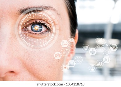 Artificial intelligence , deep learning technology trend concept. AI learns to detect diabetic eye disease.