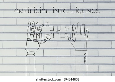 artificial intelligence: human and robot hands solving a puzzle
