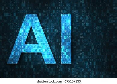 Artificial intelligence illustration with blue text AI over binary code matrix background. Abstract concept of cyber technology and automation