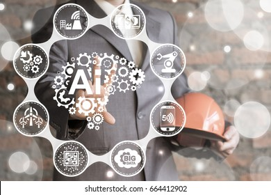 Artificial Intelligence Industry 4.0 Integration Computing Concept. Man presses brain AI gears button on virtual screen. Smart industrial technology.