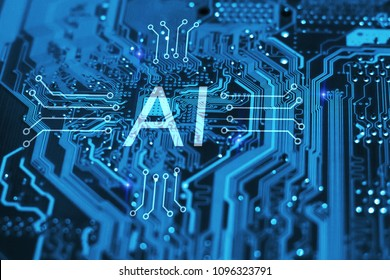 Artificial intelligence and machine learning concept. AI symbol on integrated circuit on blue background.
