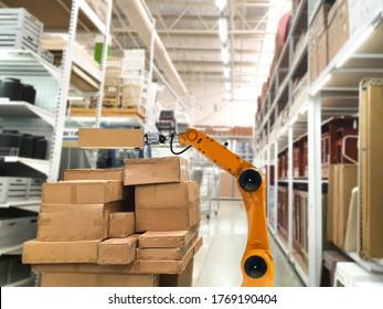 Mechanischer Roboterdienst für künstliche Intelligenz - Verwendung für Transportbox in Geschäften, die Waren in Regalen lagern