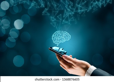 Artificial intelligence on smartphone concept. Smart phone user and brain representing artificial intelligence.
