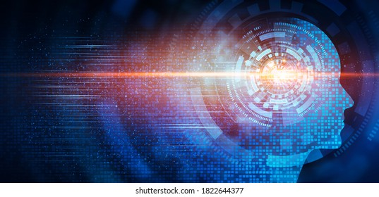 Artificial Intelligence. Profile Human Head Silhouette With Illuminated Digital Brain Over Blue Background. Future Of Humanity, AI Innovative Technologies Concept. Panorama, Collage