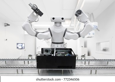 Artificial Intelligence robot working on conveyor belt in smart factory industry.