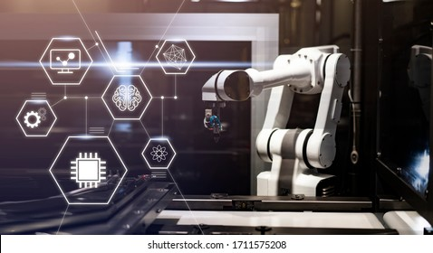 artificial intelligence robotic computer ai, robot mechanical arm machine program function for more efficient way of produce and build innovative technology faster functionality, futuristic tech