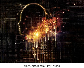 Artificial Intelligence series. Composition of human profile and numbers on the subject of thinking, logic, computers and future technology