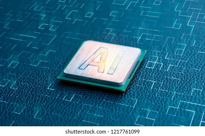 Artificial intelligence sign on computer chip microprocessor with light burst circuit tech line floor, modern digital AI in technology industry concept background