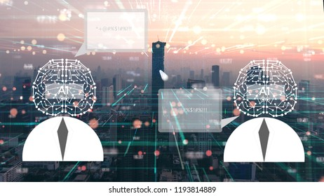 Artificial Intelligence talking together by Their own language.AI tehcnology concept