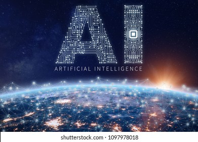 Artificial Intelligence technology concept with text AI made of electronic circuit board with microchip above planet Earth with connected network, data exchange and computing, elements from NASA