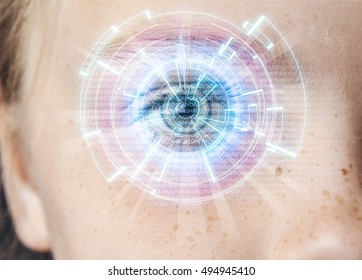 Artificial Intelligence Technology. Natural Child's Eye With Holographic Hud Interface Globe Scan On Background. Face Recognition Scanning Software Looking To The Future.