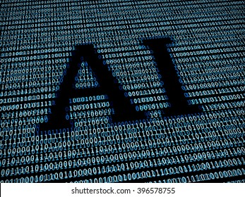 Artificial intelligence text in digital background
