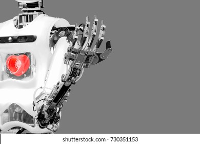 Artificial intelligence that installs the human heart to have mind and feel virtual human in concept idea, isolated on gray background.